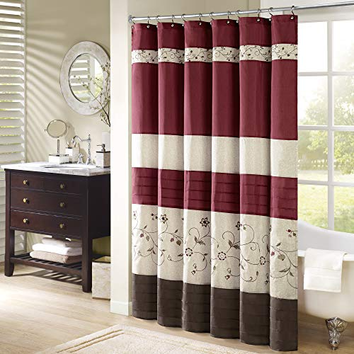 Madison Park Serene Shower Curtain Faux Silk Embroidered Floral Machine Washable Modern Home Bathroom Decorations, 54x78, Red