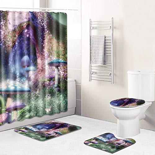 WEIFENG Außenhandel Fantasie Blumen Bad WC vierteilige Set Wohnzimmer Boden Schlafzimmer Teppich Fußmatte 10 50 * 80 cm + 180 * 180 cm