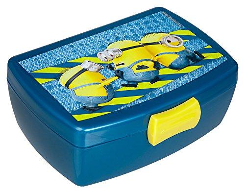 Scooli MNVA9904X - Brotzeitdose aus Kunststoff mit Clip, leicht zu öffnen und zu schließen, BPA und Phthalat frei, Minions, ca. 13 x 17 x 6 cm