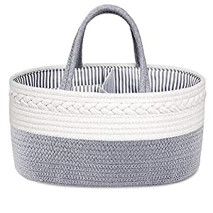 Baby Diaper Caddy Organizer: ABenkle Handmade Rope Nursery Storage Bin for Boys/Girls, Portable Diaper Storage Basket for Changing Table/Car – Ideal for Shower, Christmas (Grey)