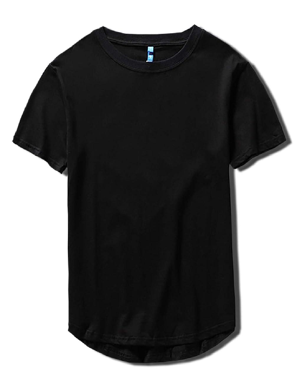お祝い順番銅[Make 2 Be] スタイリッシュ 半袖 無地 ラウンドカット Tシャツ 前後アシメ カットソー メンズ レディース トップス 丈長 プチ ロング丈 MF93
