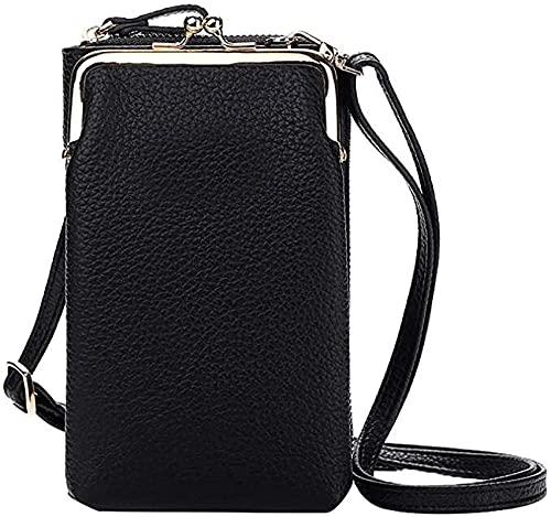 liten crossbody väska mobiltelefon – väska plånbok med credit card slots för kvinnor. svart