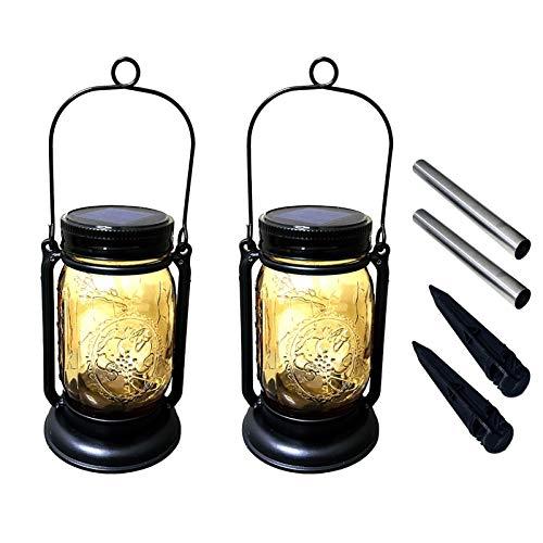 2 Pack Hanging Solar Mason Jar Lights,Vintage Solar Powered Waterproof LED Fairy Lantern Lights for Outdoor Patio Garden Yard Fence Wedding Table Decoration Lamp