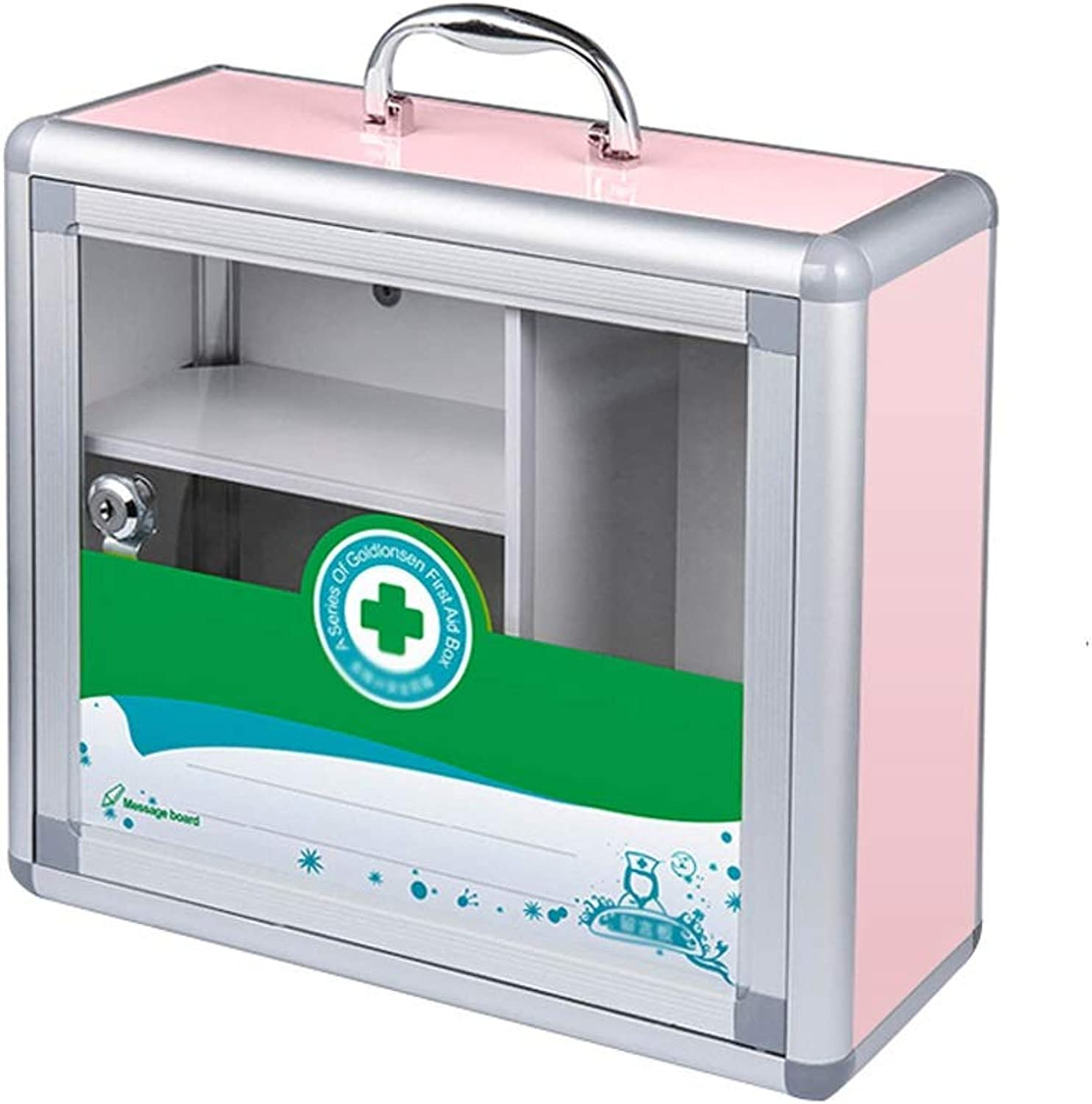 LCSHAN Convenient Household Medicine Box Wall-Mounted Medicine Emergency Aluminum Storage Box (color   Pink, Size   M)