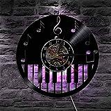 NIGU Reloj vintage Piano Instrumento Musical Vinilo Record Reloj de pared con retroiluminación LED Notas musicales Partituras Cambio de color Luz moderna pared Decoración records