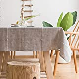 LINENLUX Striped Cotton Linen Tablecloth/Table Cover with Tassel Gray Grid Rectangle/Oblong 55 X 70 in