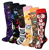 6 Pairs Women's Fancy Design Multi Colorful Patterned Knee High Socks (Halloween / Fall)
