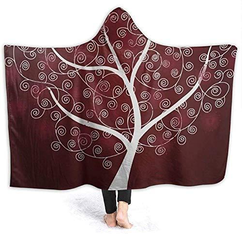 AEMAPE Manta con Capucha de árbol de la respiración para Mujer, Mantas cómodas para Llevar, Capa de Tiro, Manta de Sherpa de Micro Polar, Manta de Calentamiento, sofá para el hogar, 50x40 Pulgadas