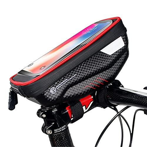 """DSMGLSBB Bolsa De Manillar De Bicicleta, Carcasa Dura De EVA Bolsa De Marco Delantero De Bicicleta, con Ventana De Pantalla Táctil Se Adapta A Teléfonos Móviles De 6.5"""",Rojo"""