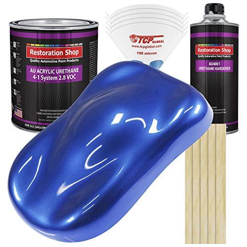 Restoration Shop - Daytona Blue Pearl Acrylic Urethane Auto Paint - Complete Gallon Paint Kit - Professional Single Stage High Gloss Automotive, Car, Truck Coating, 4:1 Mix Ratio, 2.8 VOC