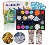 N / A Pinturas de Cara para Niños, Pintura Corporal con 14 Colores, Profesional, Seguro, Lavable, No Tóxico, Maquillaje al Agua