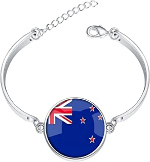 DOME-SPACE Adjustable Silver Bracelets The Republic of Estonia National Flag Hand Chain Link Bracelet Clear Bangle Custom Glass Cabochon Charm