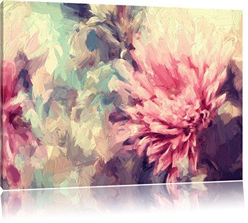 Pixxprint Romantische Blumen Pinsel Effekt, Format: 120x80 auf Leinwand