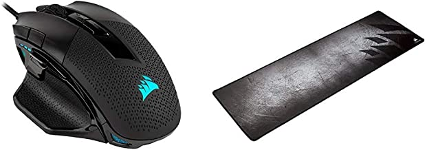 Corsair Nightsword RGB, Performance Tunable FPS/MOBA Gaming Mouse, Black, Backlit RGB LED, 18000 DPI, Optical & MM300 - An...