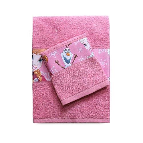 Frozen SPGN3001063 Handtuch und Gästehandtuch mit bedrucktem Rand, 100% Baumwolle, Rosa, 29 x 24 x 2,5 cm