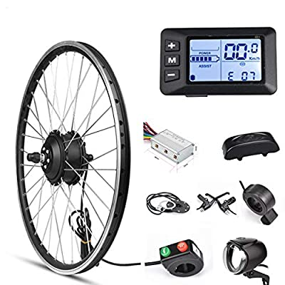 """Electric Bike Conversion Kit Front Wheel Motor 350W E Bike Kit 36V Hub Motor 20"""" Bicycle BLDC Controller with LCD Display Controller PAS Brake Lever for 201.95 Tire (20inch Front Wheel 36V 350W)"""