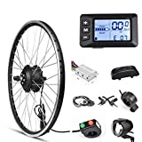 Electric Bike Conversion Kit Front Wheel Motor 350W E Bike Kit 36V Hub Motor 26' Bicycle BLDC Controller with LCD Display Controller PAS Brake Lever for 261.95 Tire (26inch Front Wheel 36V 350W)