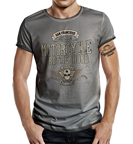 Körperbetontes Slimfit Biker Racer Trucker T-Shirt im Used Vintage Look: Motorcycle Brotherhood XXL