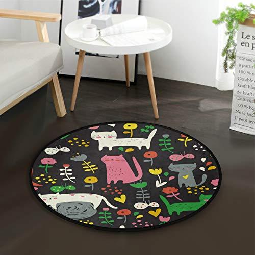 ALARGE Alfombra redonda con diseño floral y gato, lavable, antideslizante, para el hogar, dormitorio, sala de estar, entrada, baño, juegos, diámetro de 3 pies