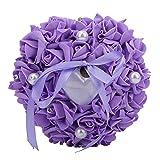 Coussin de bague de mariage, porteur de bague avec décor de perle de rose, coussin en forme de coeur bijoux cadeau bague boîte d'oreiller, coussin de bague de mariage romantique accessoires (Violet)