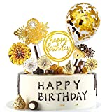 Happy Birthday Cake Topper Decoración para Tartas de Cumpleaños con Abanicos de Papel Globos Confeti Cupcake Topper para Bodas, Fiestas, Tartas Cumpleaños, Muffins, Postres, Hornear Etc (dorado)