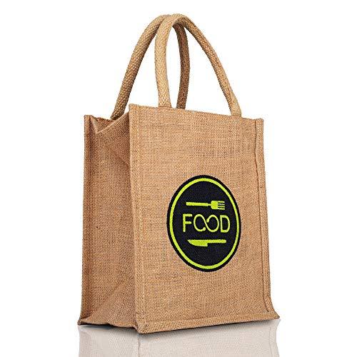 BUYRITE Lunch Box Jute Bag for Office for Men Women Lunch Bag & School Kids Tiffin Bags with Zip & Bottle Holder