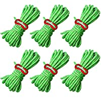 nuosen 6 Pcs Reflective Cord Guy Line, Windproof Tent Guide Rope with Aluminum Adjuster Camping 6