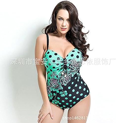Gyps Femme Bikini Sexy de Bain Bikini à Bretelle Triangle maillot de bain Plage Siamese maillot de bain_impression Maillot de Bain Siamese Trends Plus, Vert, 54