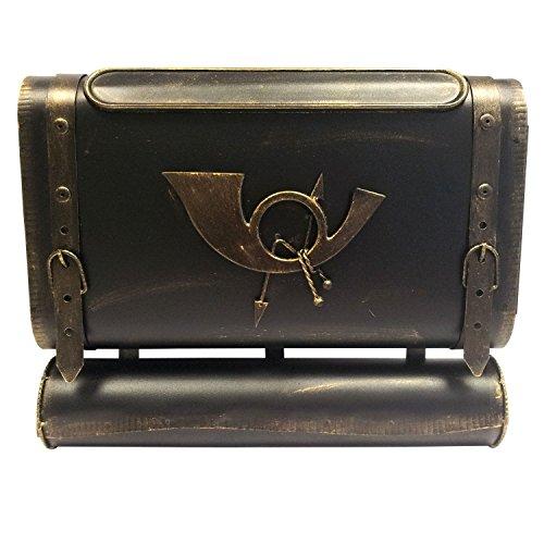 Briefkasten Wandbriefkasten Postkasten Mailbox Antik-Look Metall Posttasche mit Zeitungsrolle Zeitungsfach Zeitungsbox - Gold