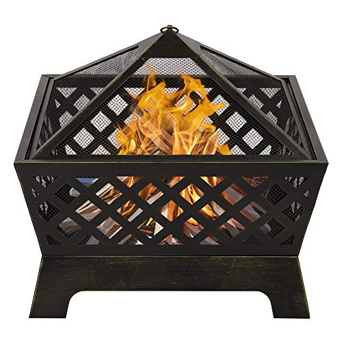 Portable Outdoor Fireplace Fire Pit Ring Bowl for Backyard Patio Fire, Patio Heater, Stove, Camping, Bonfire, Picnic, Firebowl Includes Safety Mesh Cover, Poker Stick (26.38' x 26.38' x 23')