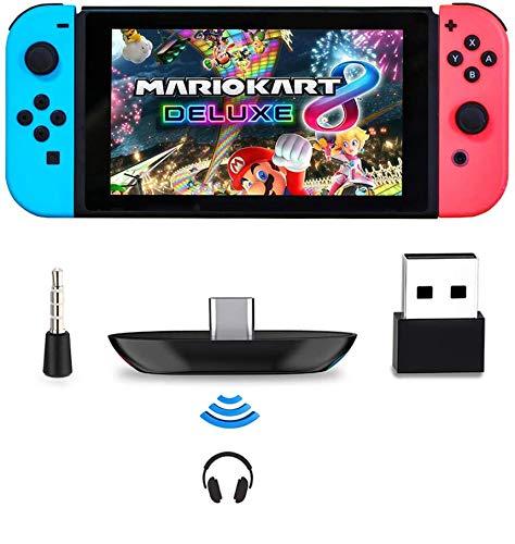 Adaptador Bluetooth Para Nintendo Switch / Lite, BT 5.0 Transmisor de Audio Inalámbrico con Micrófono Convertidor USB C a A de Baja Latencia para Auriculares Bluetooth PS4 PS5 PC Laptop Airpods, Negro