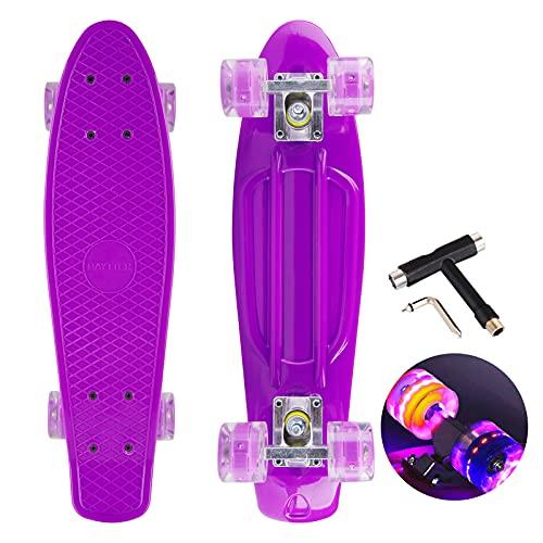 22 Zoll Skateboard Mini Cruiser Retro Board Komplettboard für Anfänger Kinder Jugendliche und Erwachsene, 57x16cm Komplett Board mit ABEC-7 Kugellager, LED PU Leuchtrollen, T-Tool (violett)