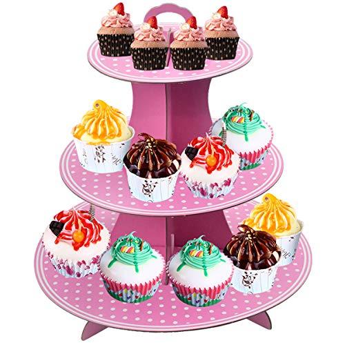Soporte de Cartón para Pasteles, 3 Pisos Soporte para Cupcakes, Redondo Torre...