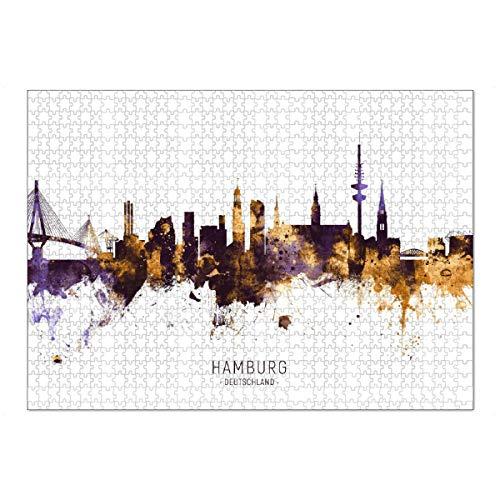 artboxONE Ravensburger-Puzzle XL (1000 Teile) Städte / Hamburg Hamburg Skyline PurpleGold