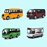 Xolye for Bambini Mini Lega Toy Car Scuola Bus Bus Van Polizia Combinazione impostata di Simulazione del Giocattolo del Bus Modello anticaduta inerzia Boy Tirare Indietro Car (Color : Set A)