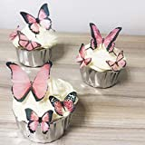Pink Butterfly Edible Cake Cupcake Decorations 36X 1.77 inch, Butterfly Wedding Cake Decorations