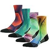 HUSO Lightweight Running Socks, Colorful Printed Funky Crew Socks for Men Women, Reinforced Padding Jogging Socks,Mens Running Socks Pack 4