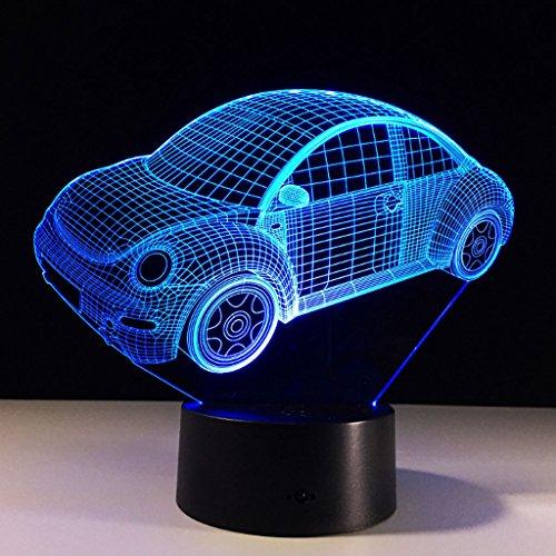 3D Nightlight zichtverlichting 7 kleuren veranderende toetsenbord USB touch en Smart Remote Desk Lamp Nice Gift Home Decor (auto)
