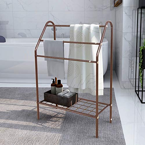Large Freestanding Towel Rack Holder with Storage Shelf - 3 Tier Metal Towel Shelves Organizer for Bath, Hand Towels, Bathroom Accessories - Brown