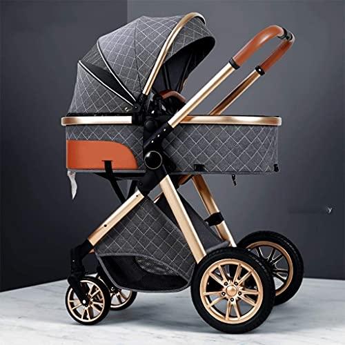 Cochecito de bebé compacto de aluminio, cochecito de cochecito de alta vista, carro de bebé plegable con arnés de 5 puntos y canasta de alta capacidad, con bolsa de mamá y cubierta a prueba de intempe