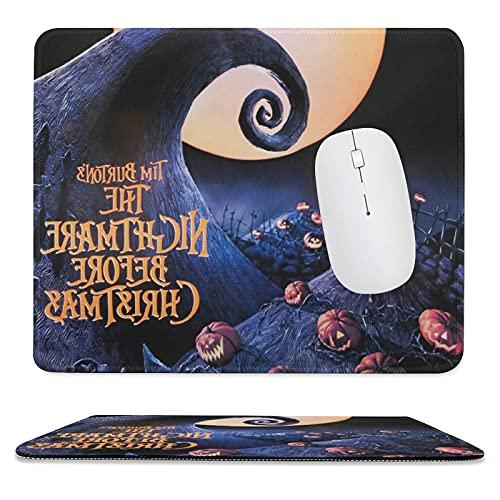 Alfombrilla de ratón con diseño de la pesadilla antes de Navidad para juegos y suministros de oficina, bordes cosidos, base de goma antideslizante de 24,8 x 30 cm