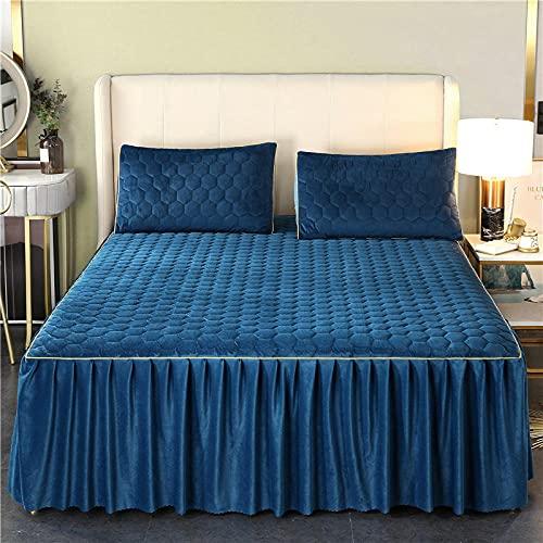 Liyingying Kristall mjölk sammet säng kjol quiltat sängöverkast, enkel dubbel, dekorera sovrum, gästrum, bästa present till flickvän, bekvämt sänglinne, gentleman_blå_180 x 200 cm