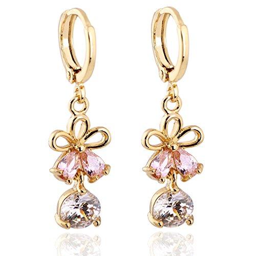Diseño Flor chapado en oro Yazilind Encanto claro rojoondo del corte del rosa Pendientes de gota de cúbico Circonita Dangle