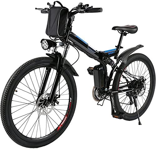Profun 26 Velo Electriques,Vélo de Montagne 250W 36V/8Ah Batterie Lithium-ION E-Bike avec Moteur, Shimano Amovible 7 Vitesses, Frien à Double Disque, vélo électrique Pliant pour Adultes