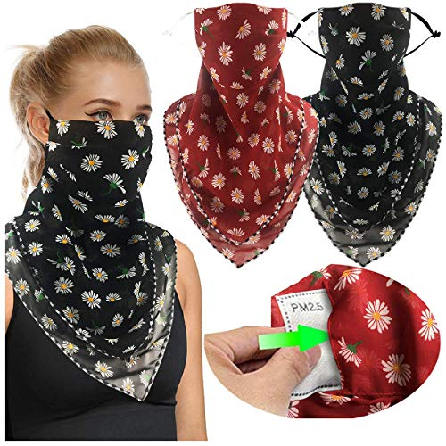 2 or 4 Pack Women Face Scarf Mask Reusable Face Cover Balaclava with Filter Pocket Chiffon Bandana Neck Gaiter -Ear Loops & Snap