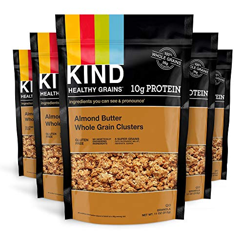 KIND Healthy Grains Clusters, Almond Butter Granola, 10g Protein, Gluten Free, 11 Ounce Bags, 6 Count