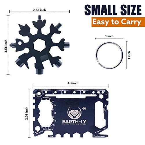 Earth-LY Snowflake Multi Tool (18 in 1) & Survival Credit Card with Pouch - Ultimate Compact Gadgets for Men & Women - Highly Portable Perfect for Outdoors, DIY, Camping, Daily Use & More