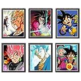 MS Fun Dragon Ball GT SSJ Goku Vegeta Anime impresión artística, 20,3 x 25,2 cm, sin marco, juego de 6 piezas