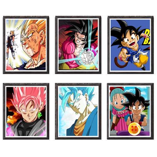 MS Fun Dragon Ball GT SSJ Goku Vegeta Anime - Juego de 6 impresiones artísticas decorativas (8 x 10 pulgadas, sin marco, 6 unidades)