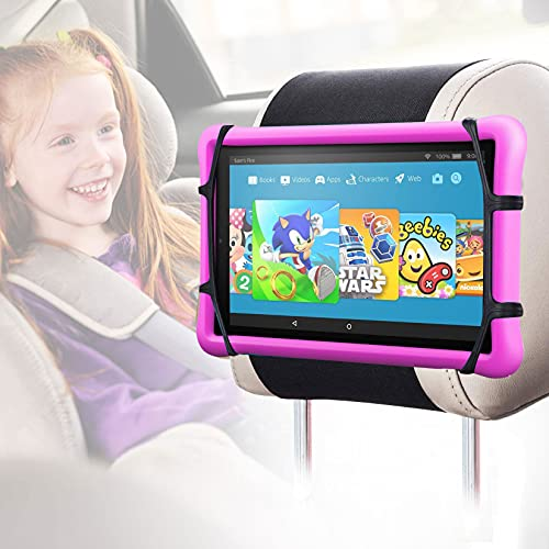 Car Headrest Mount Silicon Holder – Universal Tablet Holder for Car Kids Tablets Car Mount Angle-Adjustable Car Headrest…